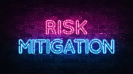 Risk mitigation neon sign. purple and blue glow. neon text. Brick wall lit by neon lamps. Night lighting on the wall. 3d render. Trendy Design. light banner, bright advertisement