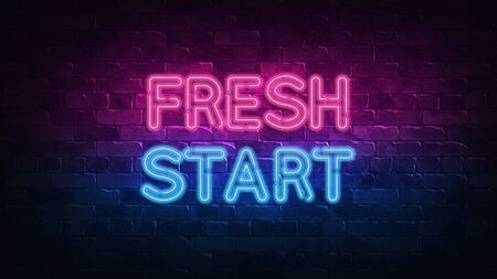 Fresh start neon sign. purple and blue glow. neon text. Brick wall lit by neon lamps. Night lighting on the wall. 3d illustration. Trendy Design. light banner, bright advertisement 免版税图像
