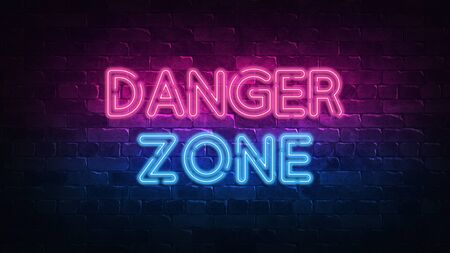 Danger zone neon sign. purple and blue glow. neon text. Brick wall lit by neon lamps. Night lighting on the wall. 3d render. Trendy Design. light banner, bright advertisement