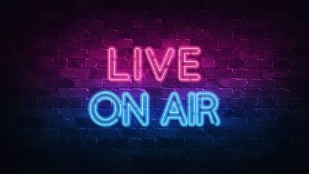 Live on air neon sign. purple and blue glow. neon text. Brick wall lit by neon lamps. Night lighting on the wall. 3d render. Trendy Design. light banner, bright advertisement 免版税图像