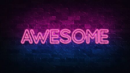 Awesome neon sign. purple and blue glow. neon text. Brick wall lit by neon lamps. Night lighting on the wall. 3d render. Trendy Design. light banner, bright advertisement