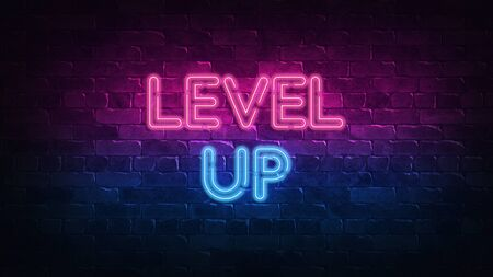 Level Up neon sign. purple and blue glow. neon text. Brick wall lit by neon lamps. Night lighting on the wall. 3d render. Trendy Design. light banner, bright advertisement