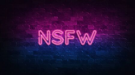 NSFW neon sign. purple and blue glow. neon text. Brick wall lit by neon lamps. Night lighting on the wall. 3d render. Trendy Design. light banner, bright advertisement 免版税图像