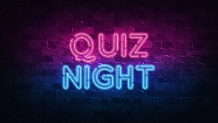 Quiz Night neon sign. purple and blue glow. neon text. Brick wall lit by neon lamps. Night lighting on the wall. 3d render. Trendy Design. light banner, bright advertisement