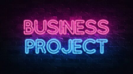 business project neon sign. purple and blue glow. neon text. Brick wall lit by neon lamps. Night lighting on the wall. 3d render. Trendy Design. light banner, bright advertisement 免版税图像