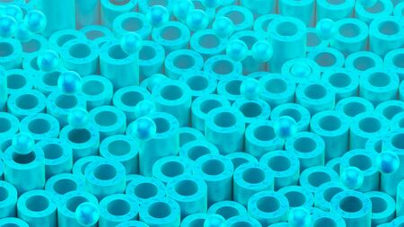 Cylindrical tubes and balls. Beautiful blue color and surface texture. Good background for your motion design. 3d render