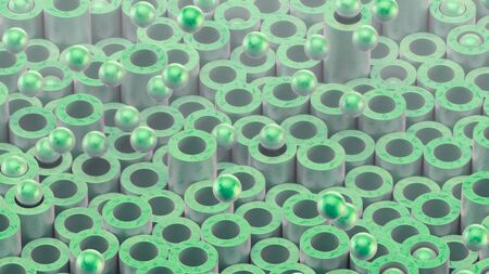 Cylindrical tubes and balls. Beautiful green color and surface texture. Good background for your motion design. 3d render