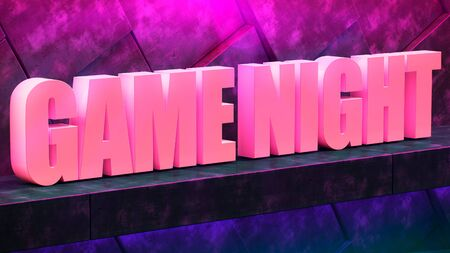 Concrete modern wall illuminated by neon light. game night. purple and blue glow. Concrete modern wall illuminated by neon light. 3d illustration. Trendy Design. light banner, bright advertisement 免版税图像