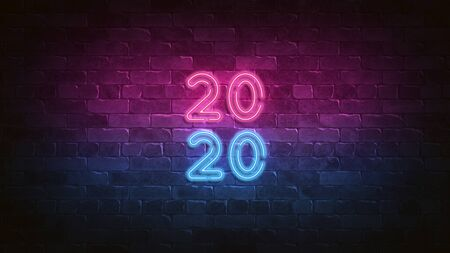 2020 new year neon sign. purple and blue glow. neon text. Night lighting on the wall. 3d illustration. Holiday. Glam Christmas cadr for decorative design. Trendy Design. bright advertisement.