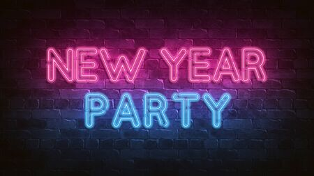 New Year party neon sign. purple glow. neon text. Night lighting on the wall. 3d render. Holiday background. Glam Christmas cadr for decorative design. New year. Trendy Design. bright advertisement.