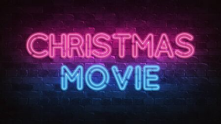 Christmas movie neon sign. purple and blue glow Night lighting. 3d illustration. Holiday background. Greeting card for decorative design. New year christmas. Trendy Design. bright advertisement.