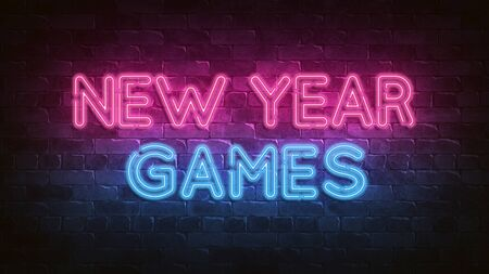 New Year Games neon sign. purple and blue glow. neon text. Night lighting 3d render. Holiday background. Greeting card for decorative design. New year christmas. Trendy Design. bright advertisement. 免版税图像