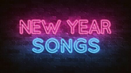 New Year songs neon sign. purple and blue glow. neon text. Night lighting on the wall. 3d illustration. Holiday background. Greeting card for decorative design. New year christmas. Trendy Design.