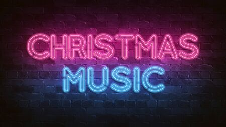Christmas music neon sign. purple and blue glow. neon text. 3d illustration. Holiday background. Greeting card for decorative design. New year christmas. Trendy Design. bright advertisement.