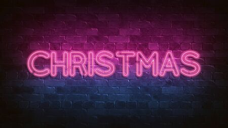 CHRISTMAS neon sign. purple glow. neon text. Night lighting on the wall. 3d illustration. Glam Christmas cadr. Greeting card for decorative design. New year christmas. Trendy Design. advertisement. 免版税图像