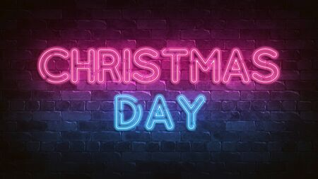 CHRISTMAS DAY neon sign. purple and blue glow. neon text. Night lighting on the wall. 3d render. Holiday background. Greeting card for decorative design. New year christmas. Trendy Design.