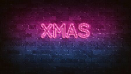 XMAS neon sign. purple and blue glow. Night lighting on the wall. 3d illustration. Holiday background. Greeting card for decorative design. New year christmas. Trendy Design. bright advertisement.