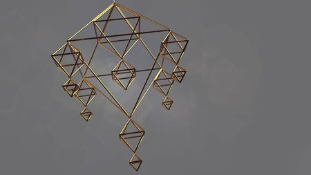 Pyramidal Gold Network. Rotating geometrical figure. Looped footage for your design. Scientific background. 3d render 免版税图像