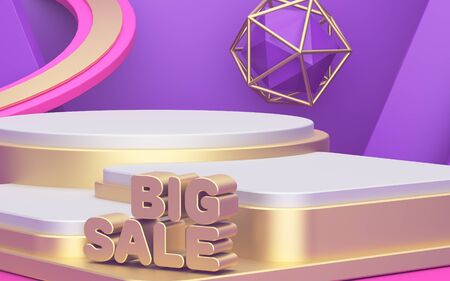 Big sale. Showcase for displaying three products. Beautiful abstract background. Advertising poster, golden podium. 3d illustration