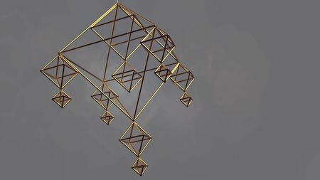 Sacred pyramidal shape. Golden wireframe in the shape of a pyramid. The rotation of the crystal lattice. for your design 3d render
