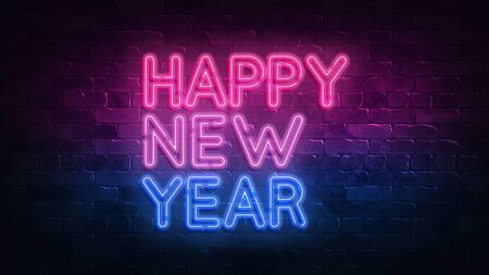 Happy new year neon sign. Night lighting on the wall. 3d render. Holiday background. Greeting card for decorative design. New year christmas. Trendy Design. light banner, bright advertisement. 免版税图像