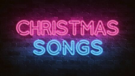 Christmas songs neon sign. blue glow. Night lighting on the wall. 3d illustration. Holiday background. Greeting card for decorative design. New year christmas. Trendy Design. bright advertisement. Stock Photo