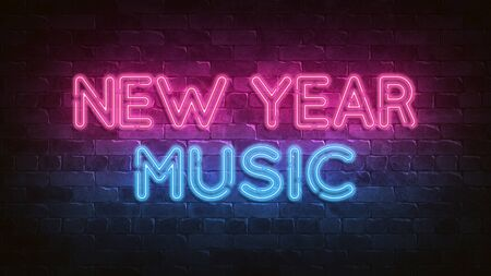 New Year music neon sign. blue glow. neon text. Night lighting on the wall. 3d illustration. Holiday background. Greeting card for design. New year christmas. Trendy Design. bright advertisement.
