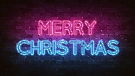 merry christmas neon sign. blue glow. Night lighting on the wall. 3d illustration. Holiday background. Greeting card for decorative design. New year christmas. Trendy Design. bright advertisement.
