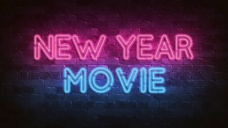New Year movie neon sign. blue glow. neon text. Night lighting on the wall. 3d render. Holiday background. Greeting card for decorative design. New year christmas. Trendy Design. bright advertisement.