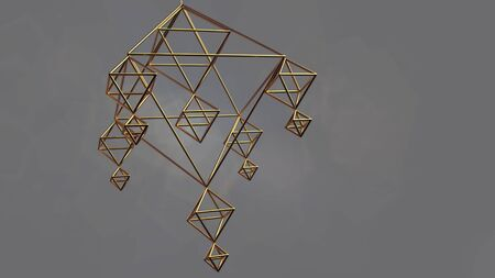 Sacred pyramidal shape. Golden wireframe in the shape of a pyramid. The rotation of the crystal lattice. bg for your design 3d render
