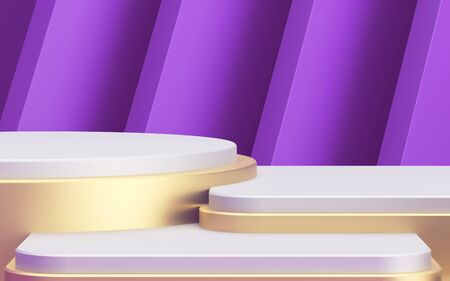 backdrop for your goods. Golden three-level showcase. Purple distant plan. Beautiful abstraction and luxury. 3d illustration