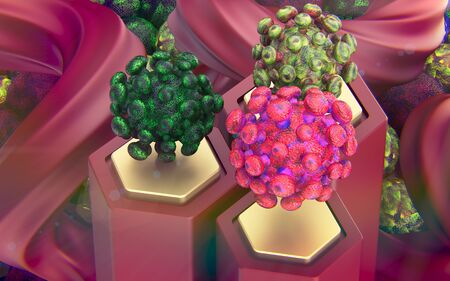 Virus ncov study in the laboratory. Microscopic view of floating pandemic risk flu. infection 3D illustration.