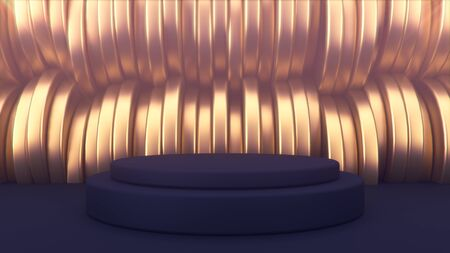 advertising abstract background. Black podium. Golden cylinders in the background. Beautiful abstraction and luxury. 3d illustration minimalist mockup