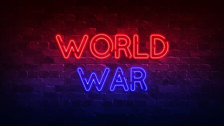 World War neon sign.  Brick wall lit by neon lamps. 免版税图像
