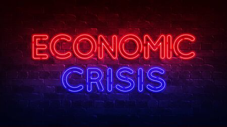 economic crisis neon sign. red and blue glow. neon text. Conceptual background for your design with the inscription. 3d render