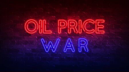 Oil price war neon sign.