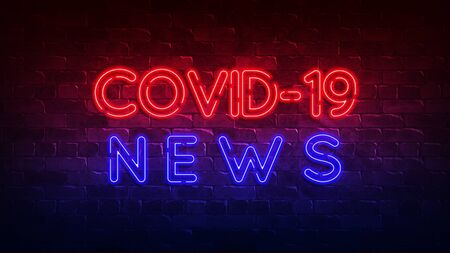 covid-19 news neon sign. red and blue glow. neon text. Conceptual background for your design with the inscription. 3d illustration