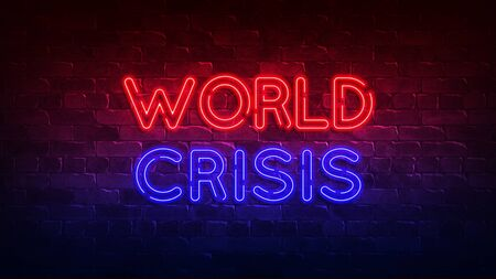 World crisis neon sign. red and blue glow. neon text. Brick wall lit by neon lamps. Conceptual poster with the inscription. 3d render
