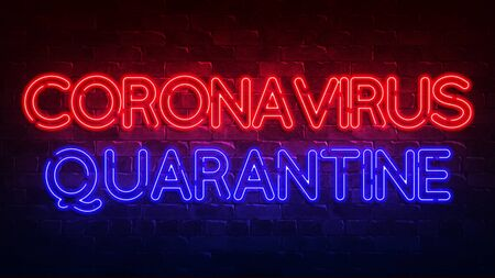 coronavirus quarantine neon sign. red and blue glow. neon text. Brick wall. Conceptual background for your design with the inscription. 3d render