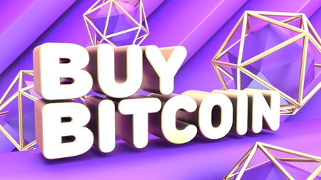 Abstract cryptocurrency poster. Violet graphic elements. inscription in gold letters buy bitcoin. Blockchain network concept 3d render