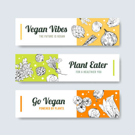Banner template with vegan food concept design for advertise and marketing watercolor vector illustration.