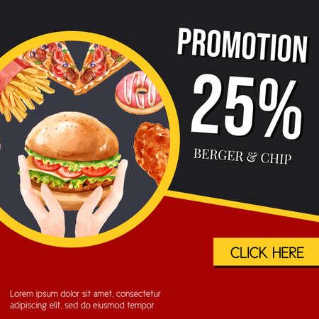 Fast food gif voucher discount order menu appetizer food , template design, creative watercolor vector illustration design