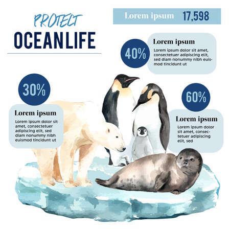 Global Warming and Pollution. Poster flyer brochure advertising campaign, save the world template design , creative watercolor vector illustration design Ilustração
