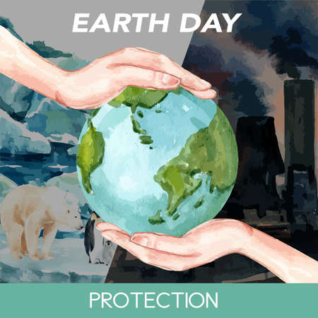 Global Warming and Pollution. Social media advertising campaign, save the world template design , creative watercolor vector illustration design