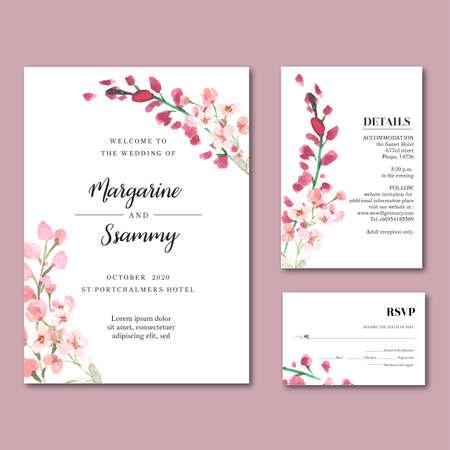 Happy Wedding card floral garden invitation card marriage, rsvp detail. space layout vintage ornament beautiful ,  watercolor vector illustration template collection design Ilustração