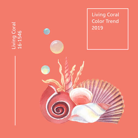 Color Coral 2019 trendy, Sea shell marine life summertime travel the beach ,aquarelle isolated vector illustration
