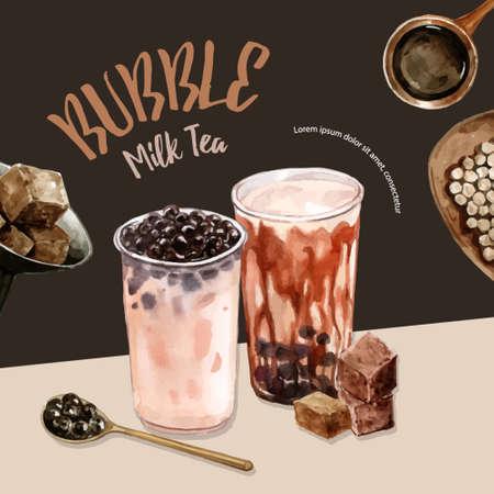 brown sugar bubble milk tea set, poster ad, flyer template, watercolor illustration design