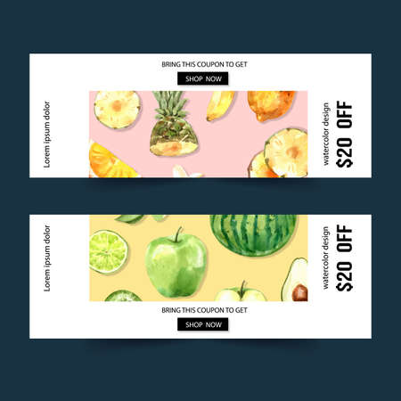 Banner design with Fruits theme, watermelon and apple watercolor vector illustration.