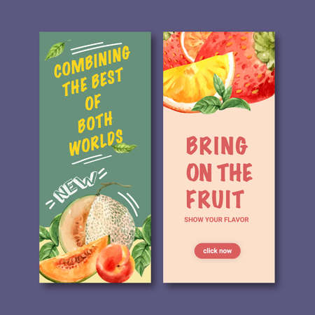 Flyer design with cantaloupe, creative colorful illustration template.