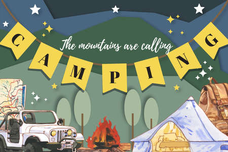 Camping frame design with kettle, canned food, campfire watercolor  illustration. Illustration